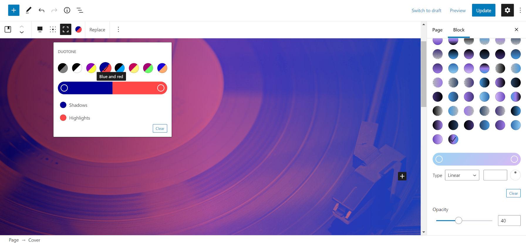Application d'un filtre bicolore bleu et rouge avec une superposition transparente noire, violette et bleue sur l'image d'un disque et d'un lecteur.