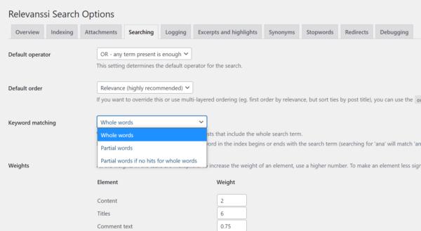 Options de configuration du plugin Relevanssi Search