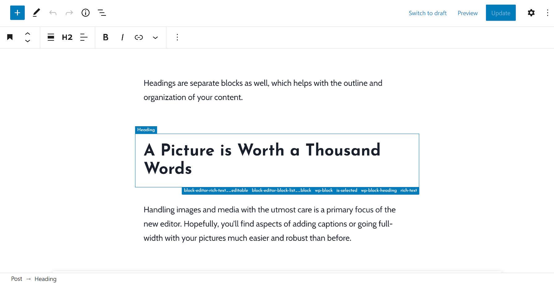 Contour d'un bloc d'en-tête entre deux paragraphes via le plugin Wayfinder.
