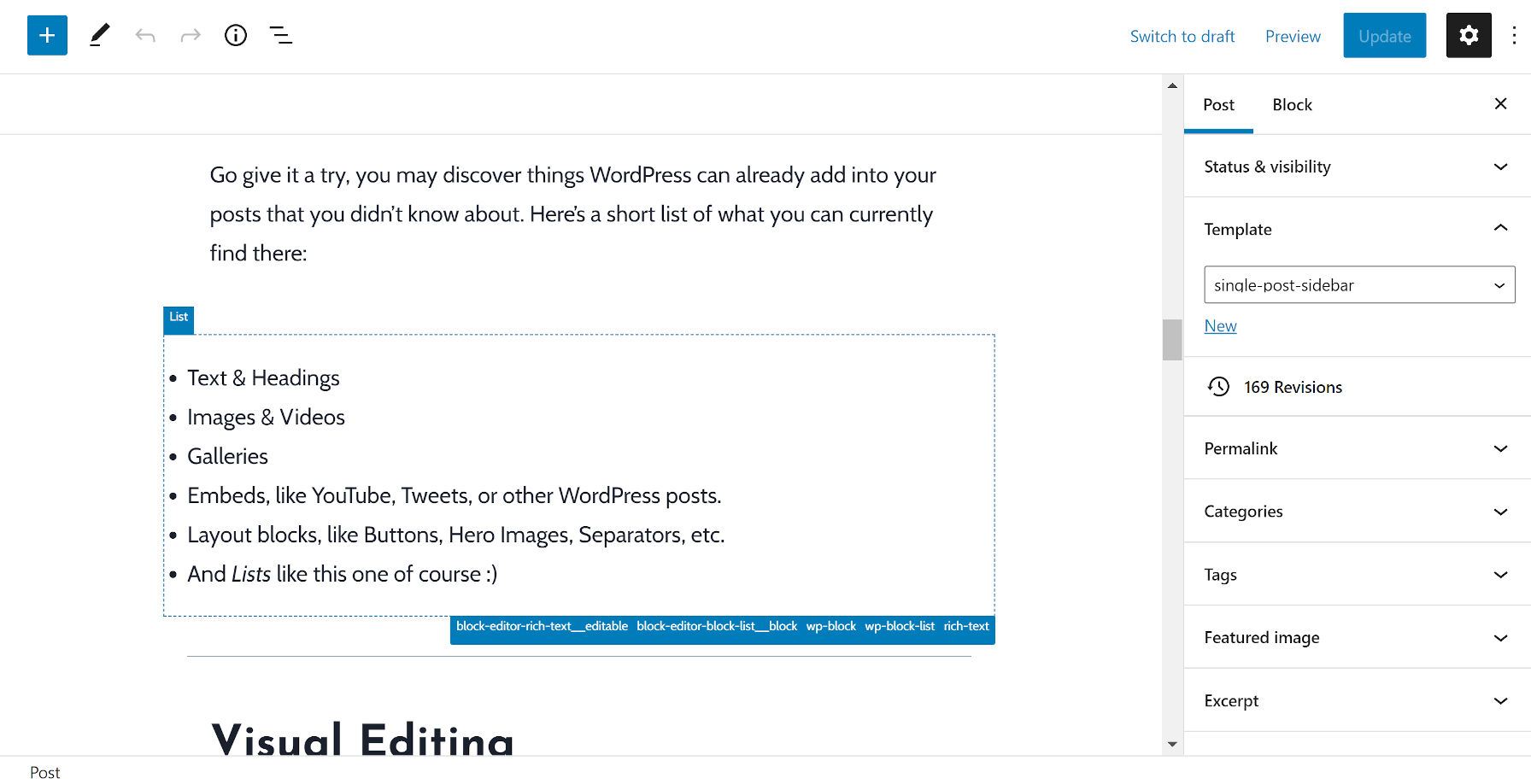 Affichage d'un bloc de liste dans l'éditeur où le remplissage du plugin Wayfinder le désaligne.