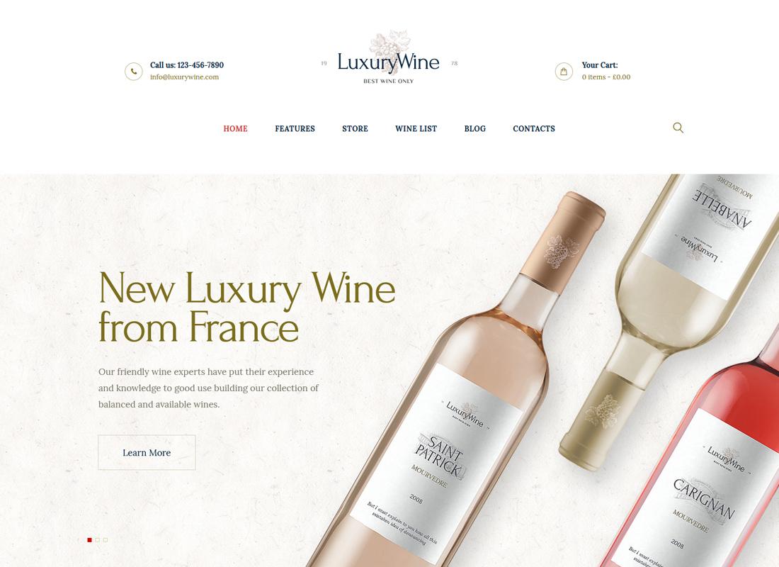 Vin de luxe - Thème WordPress pour maison de vin, cave et magasin de vin