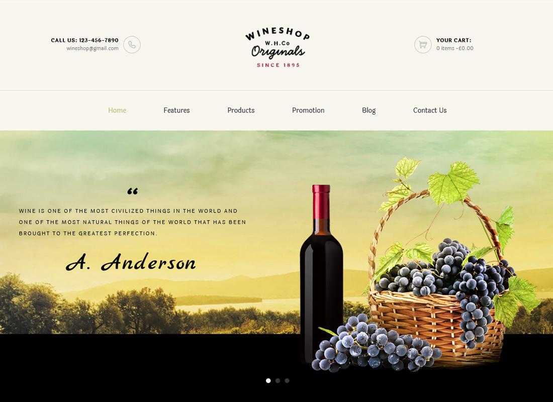 WineShop - Thème WordPress pour boutique en ligne de nourriture et de vin