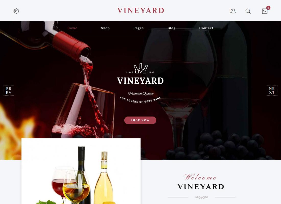 Vignoble - Thème WordPress WooCommerce adaptatif pour le magasin de vins