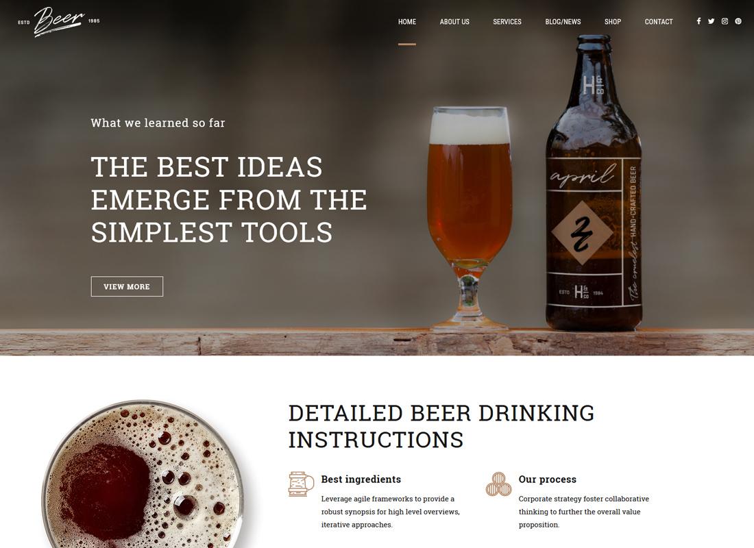 Bière artisanale - Thème WordPress pour brasserie ou pub