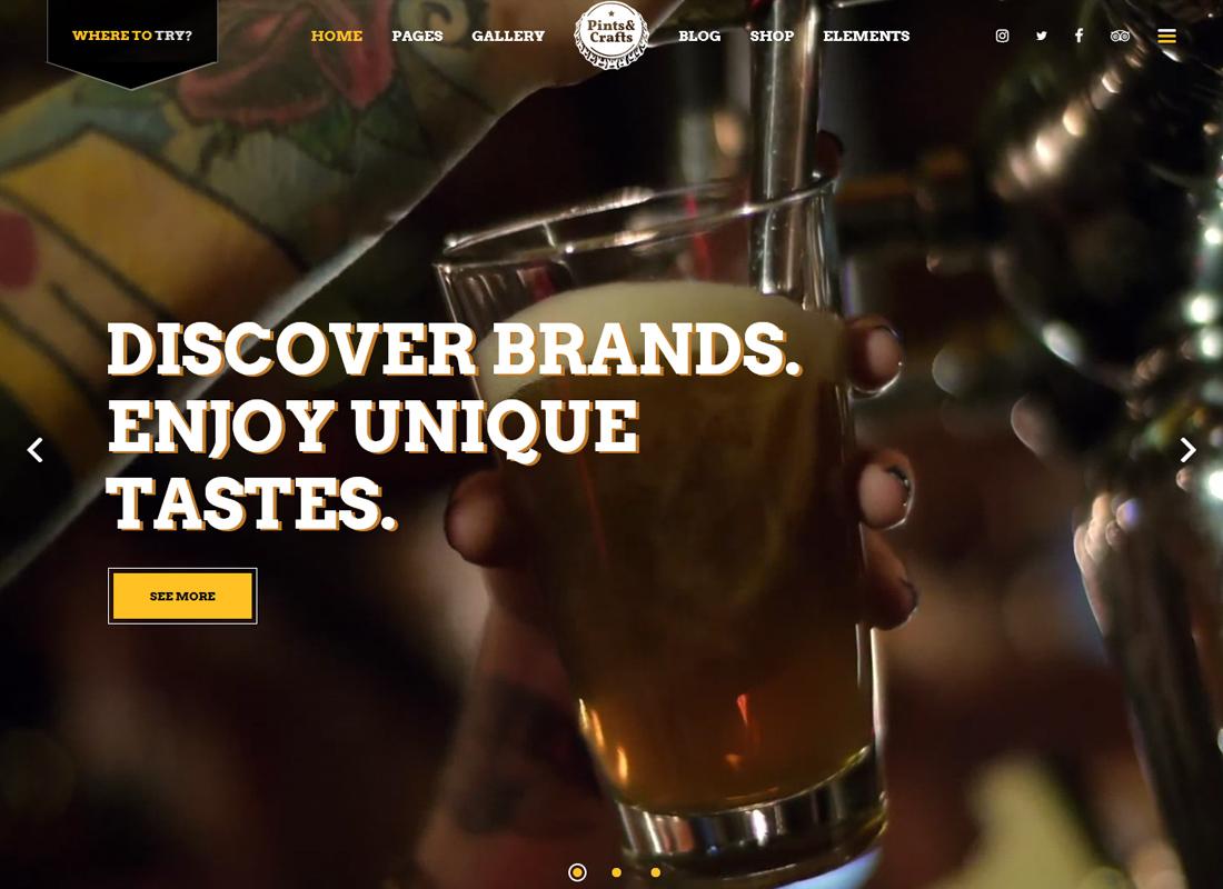 Pintes et artisanat - Un thème conçu pour les brasseries et les pubs