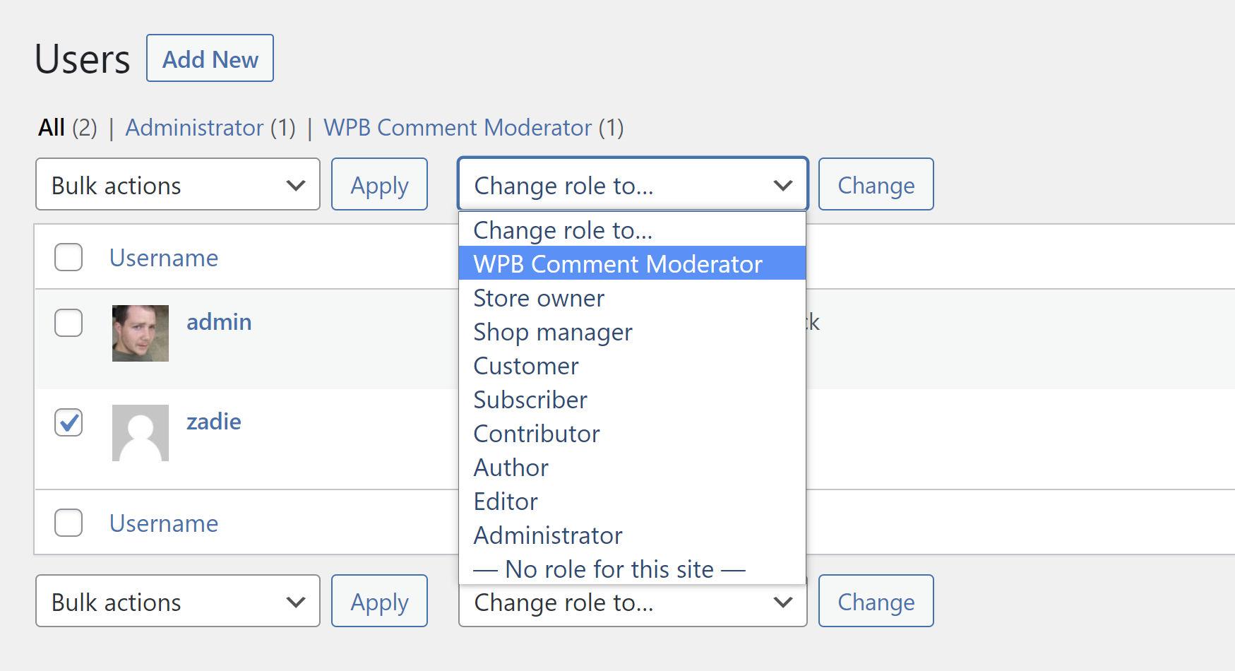 Capture d'écran de l'écran de gestion des utilisateurs WordPress, attribuant un rôle à un utilisateur.