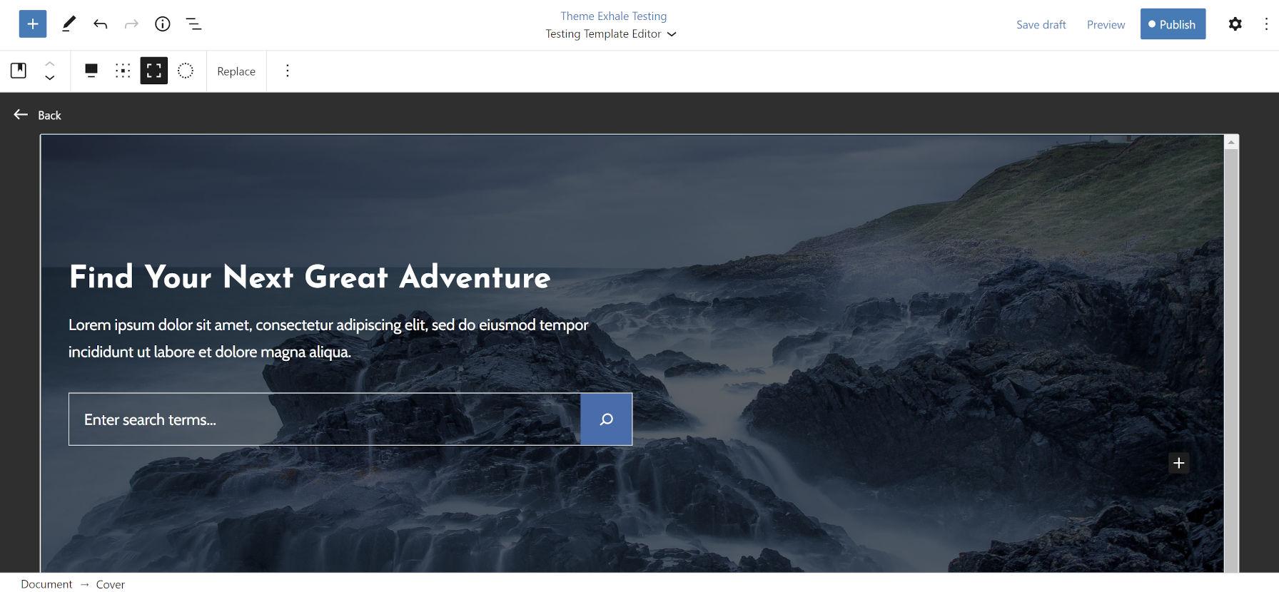 Création d'un modèle de page de destination personnalisé avec un formulaire de recherche dans l'en-tête avec l'éditeur de modèles WordPress 5.8.