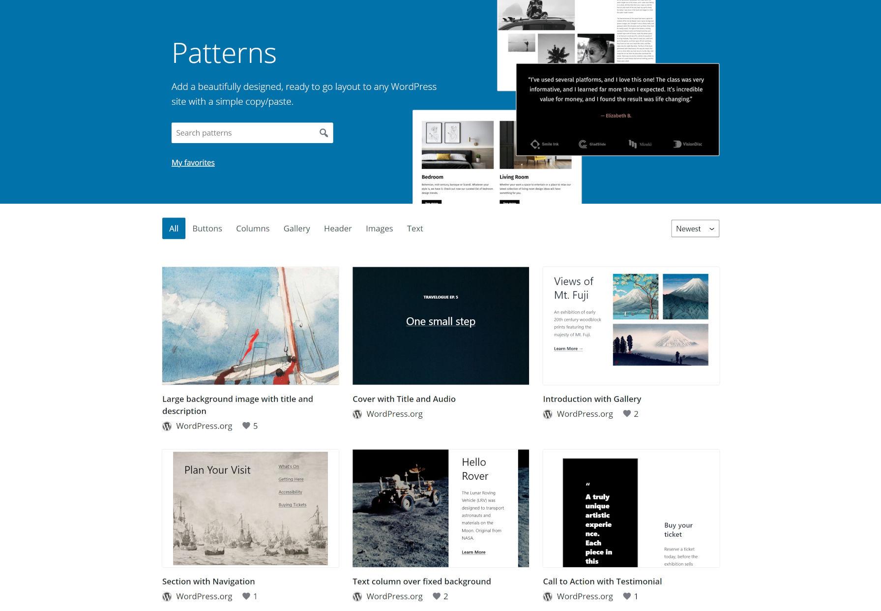 Page d'accueil du répertoire de modèles WordPress.org, présentant les dernières soumissions de modèles dans une grille.