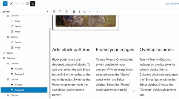 WordPress 5.8 : La nouvelle vue de liste dans votre éditeur de publication