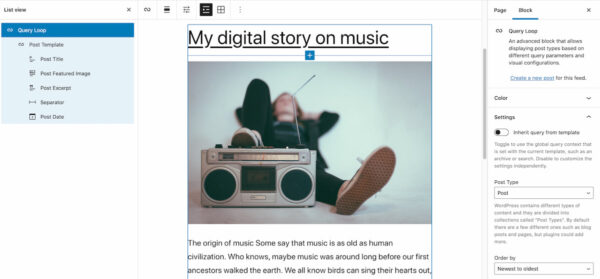 WordPress 5.8 : capture d'écran du nouveau bloc de boucle de requête