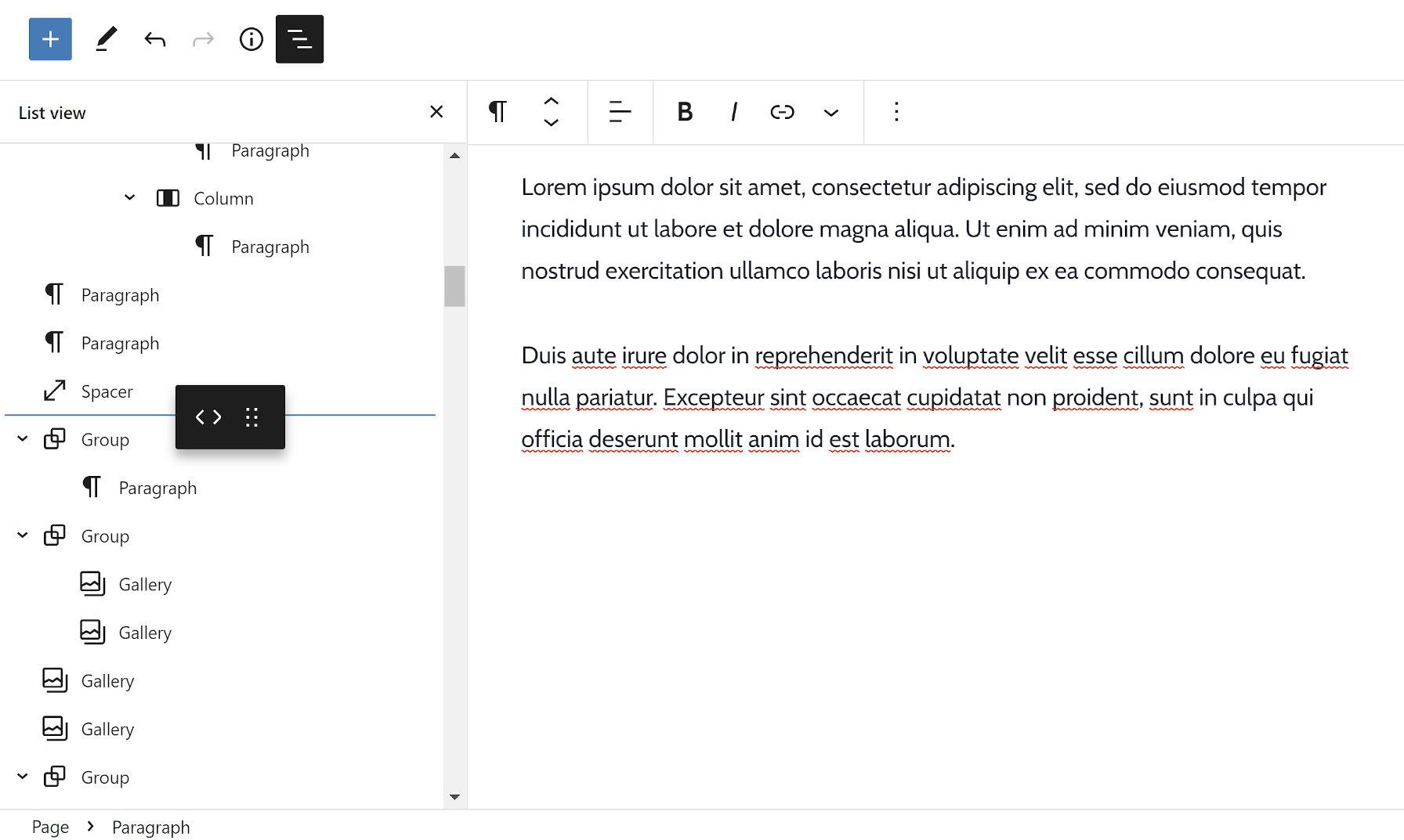 Faire glisser un bloc d'une zone à une autre dans la vue de liste de l'éditeur de blocs.