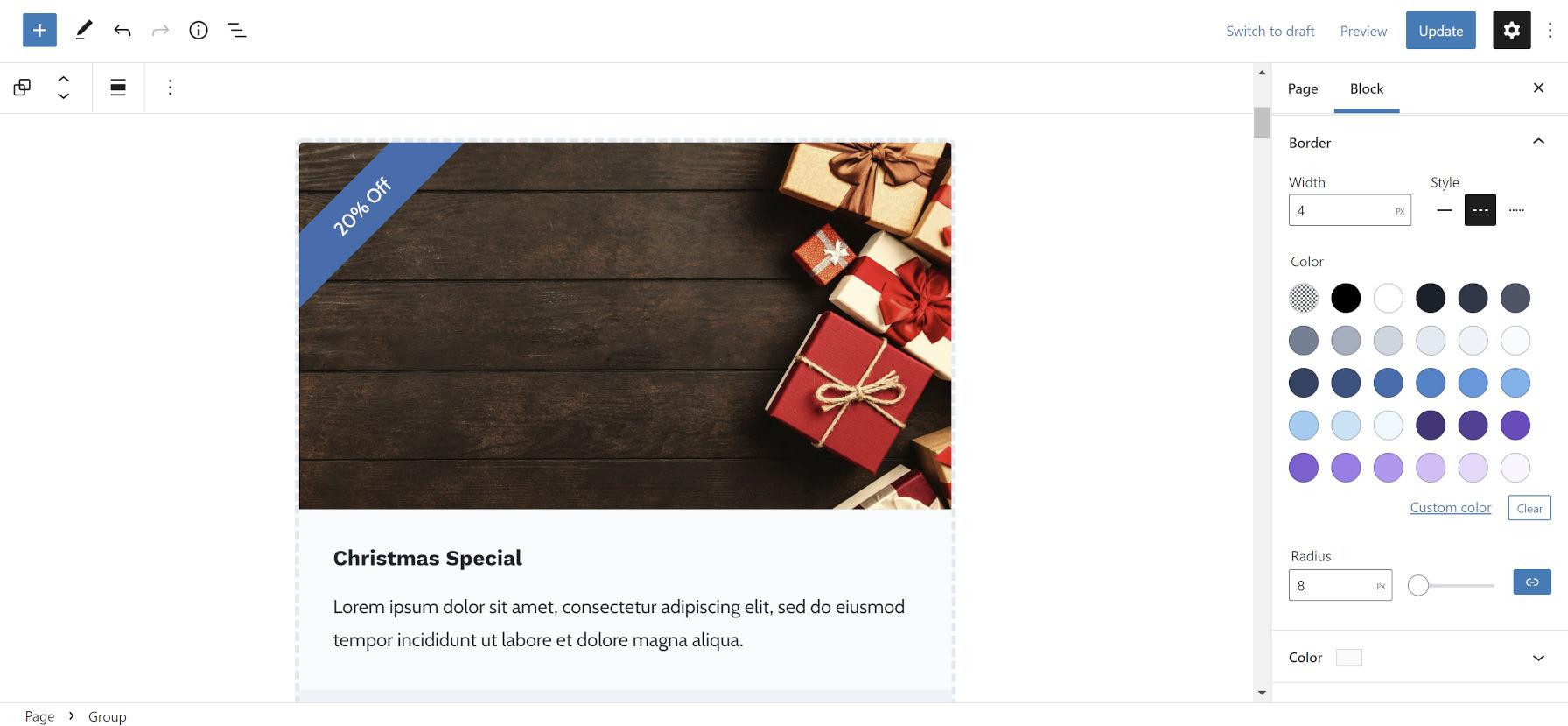 Définition de la largeur, du style, de la couleur et du rayon de la bordure d'un bloc Groupe dans l'éditeur.