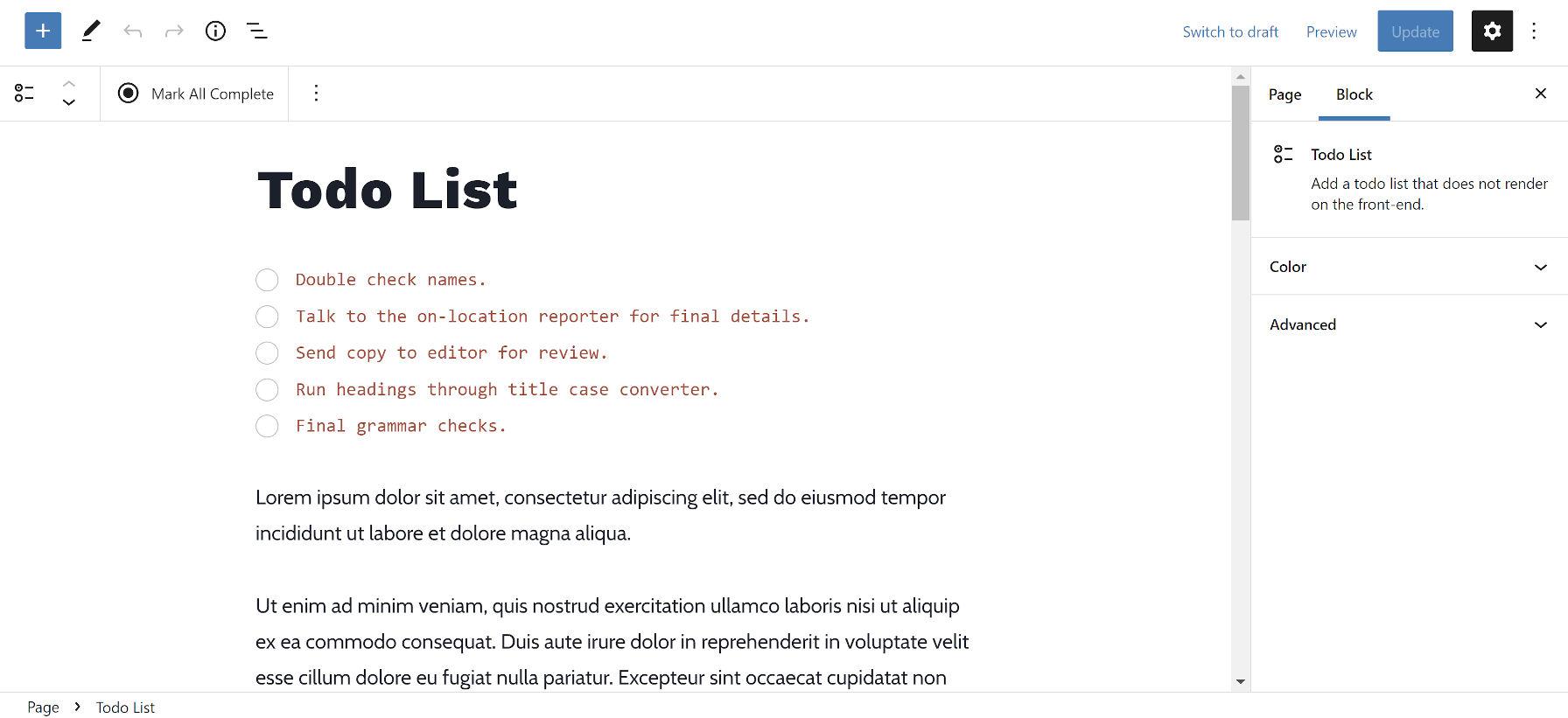 Ajout du bloc Todo List et de plusieurs éléments à un exemple de publication WordPress.