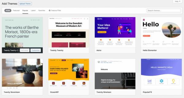 Un aperçu de 8 thèmes WordPress populaires