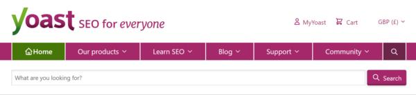 L'interface de recherche interne dans la navigation principale sur yoast.com