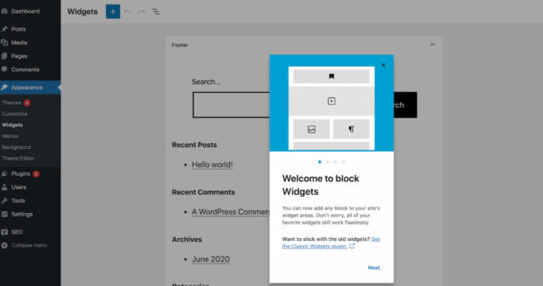 WordPress 5.8 : capture d'écran des nouveaux widgets de blocs de fonctionnalités