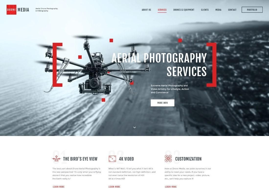 Médias de drones    Thème WordPress pour photographie aérienne et vidéographie