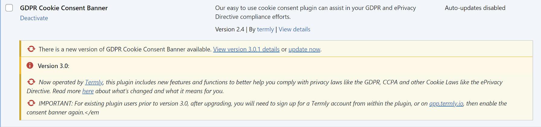 Avis d'administration du plug-in de consentement aux cookies GDPR avant la mise à niveau vers 3.0.