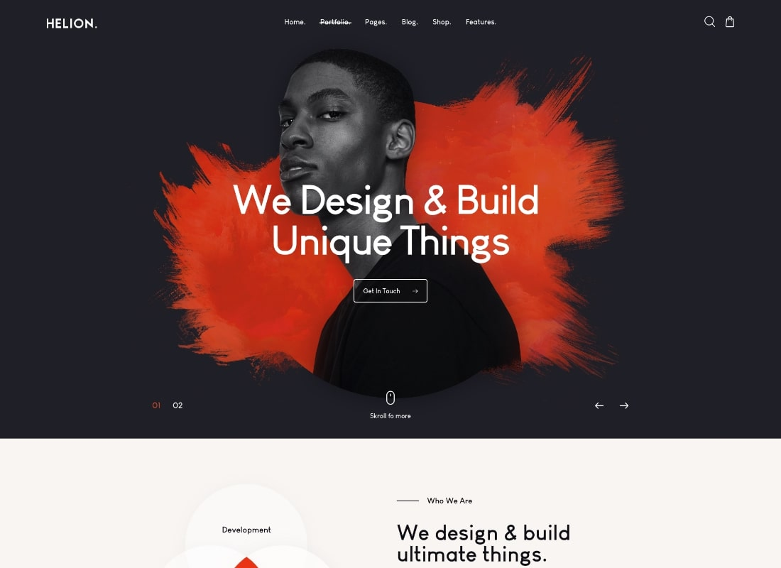 Hélion    Thème WordPress pour portfolio créatif personnel + boutique