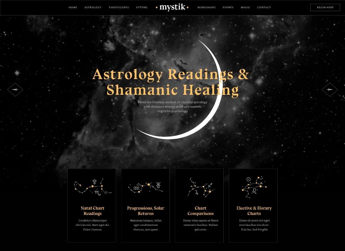Mystik    Thème WordPress pour astrologie et horoscope ésotérique