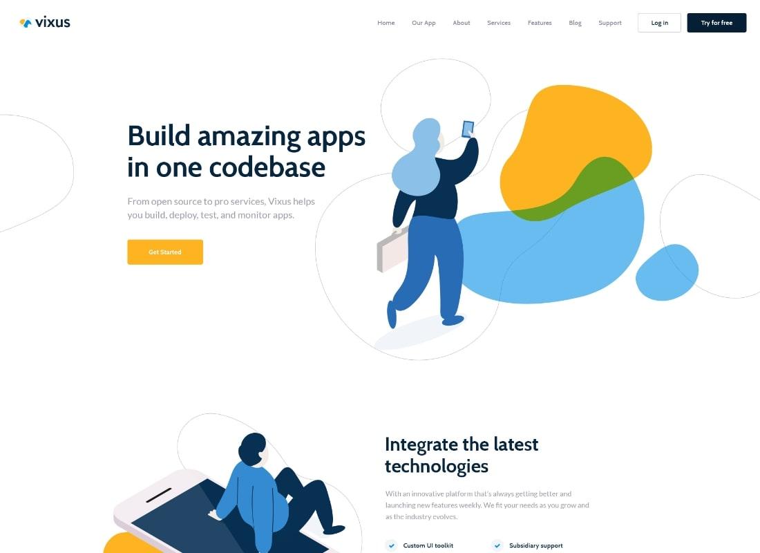 Vixus    Thème de page de destination WordPress pour démarrage et application mobile