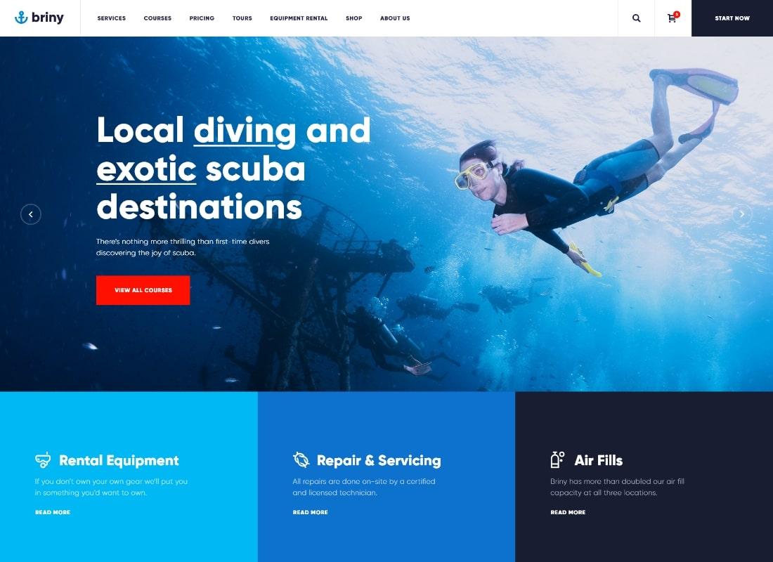 saumâtre    Thème WordPress pour école de plongée sous-marine et sports nautiques