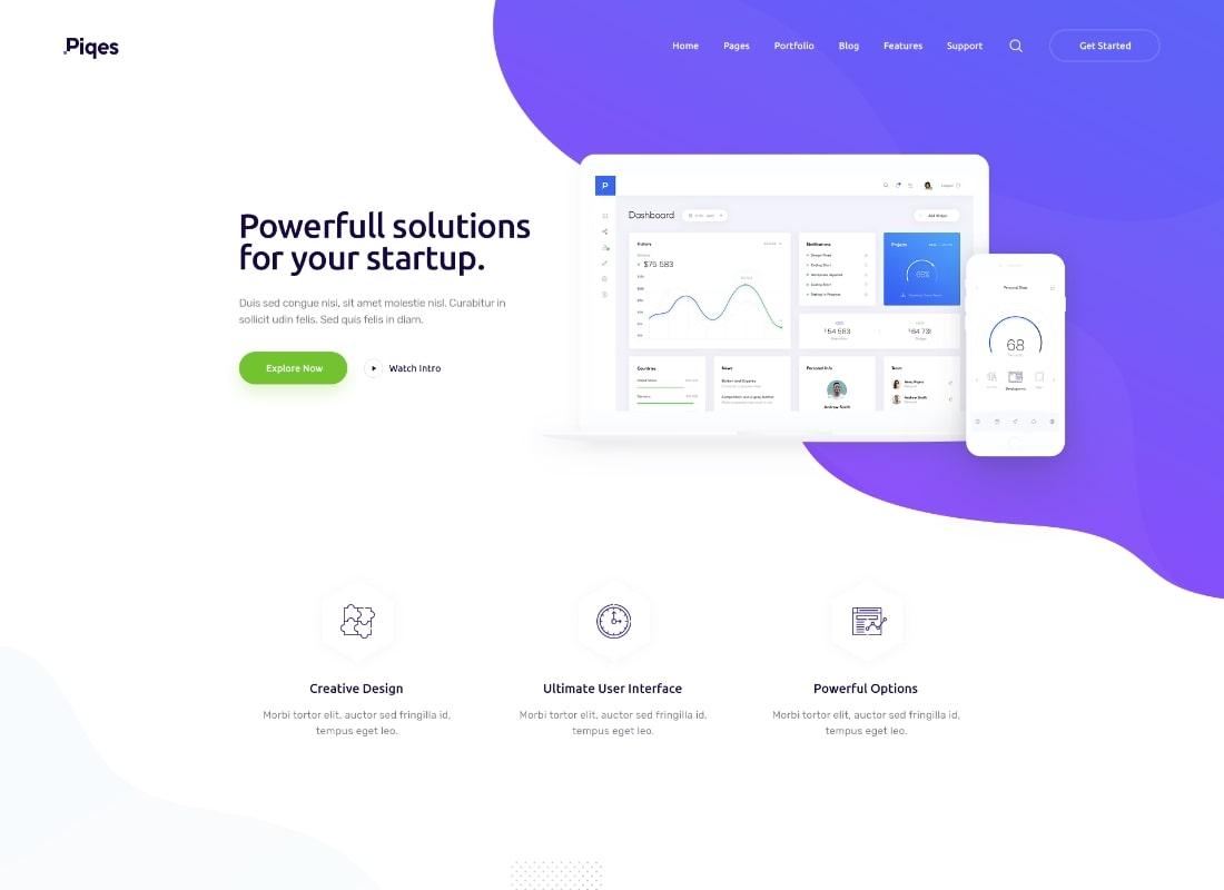 Piqés    Thème WordPress pour startups et agences créatives