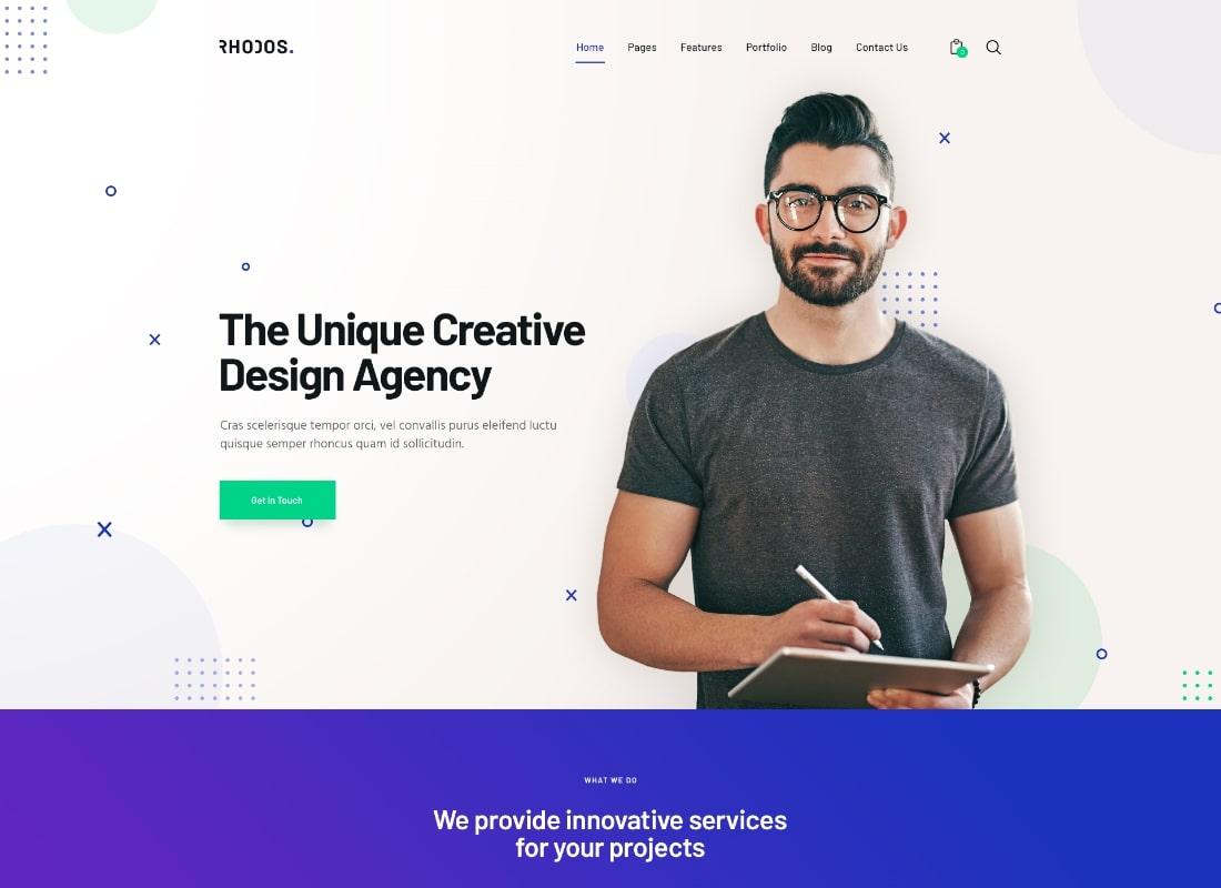 Rhodes    Un thème WordPress polyvalent colossal pour les entreprises et les portefeuilles