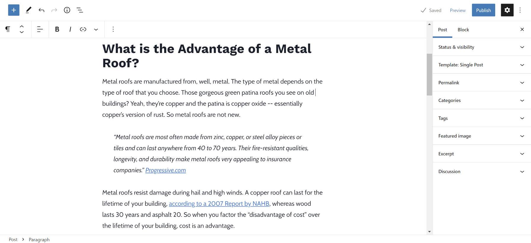 Aperçu de l'éditeur de blocs d'un article de blog sur les toitures métalliques dans le cadre du pack de contenu de toiture Launch With Words.