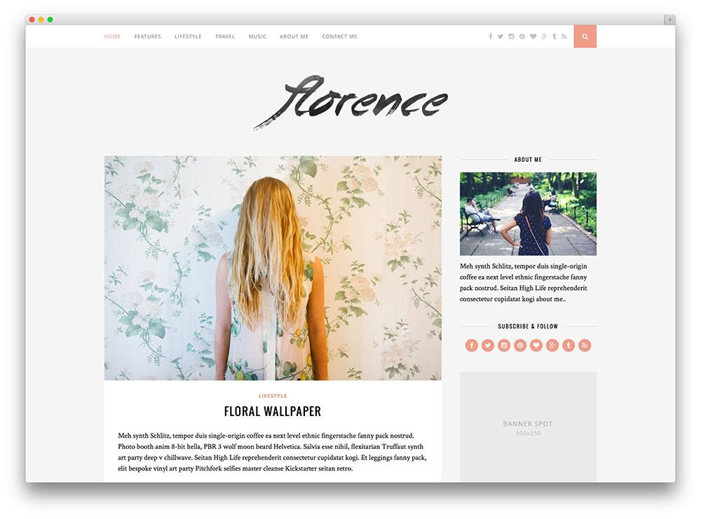 thème du blog florence clean