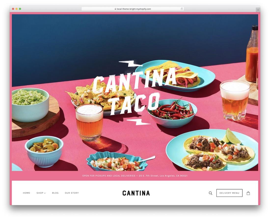 émerger le thème du restaurant shopify
