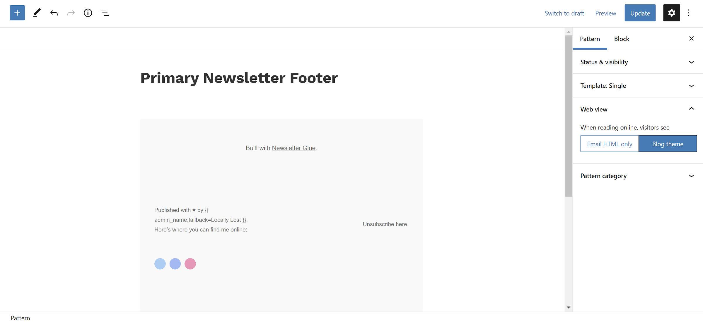 Modèle de bloc de newsletter dans l'éditeur WordPress.