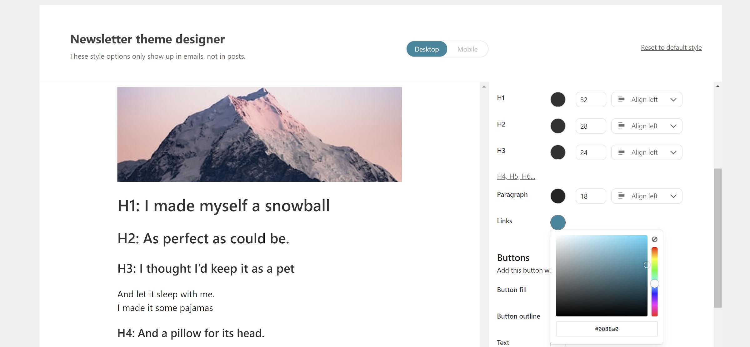 Écran de conception de thème de newsletter du plugin Newsletter Glue.