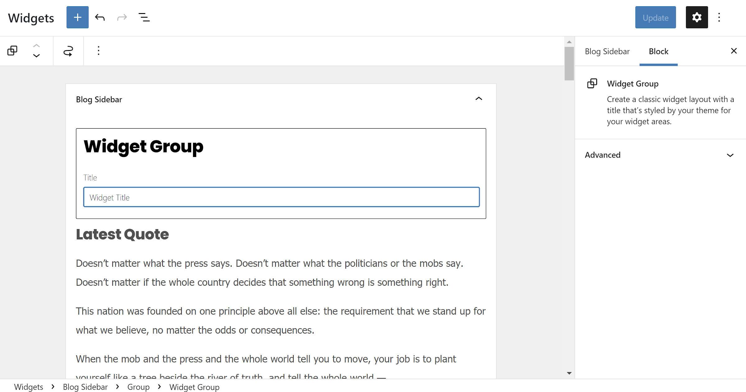 Écran Widgets dans l'administrateur WordPress avec le nouveau bloc Widget Group affiché.