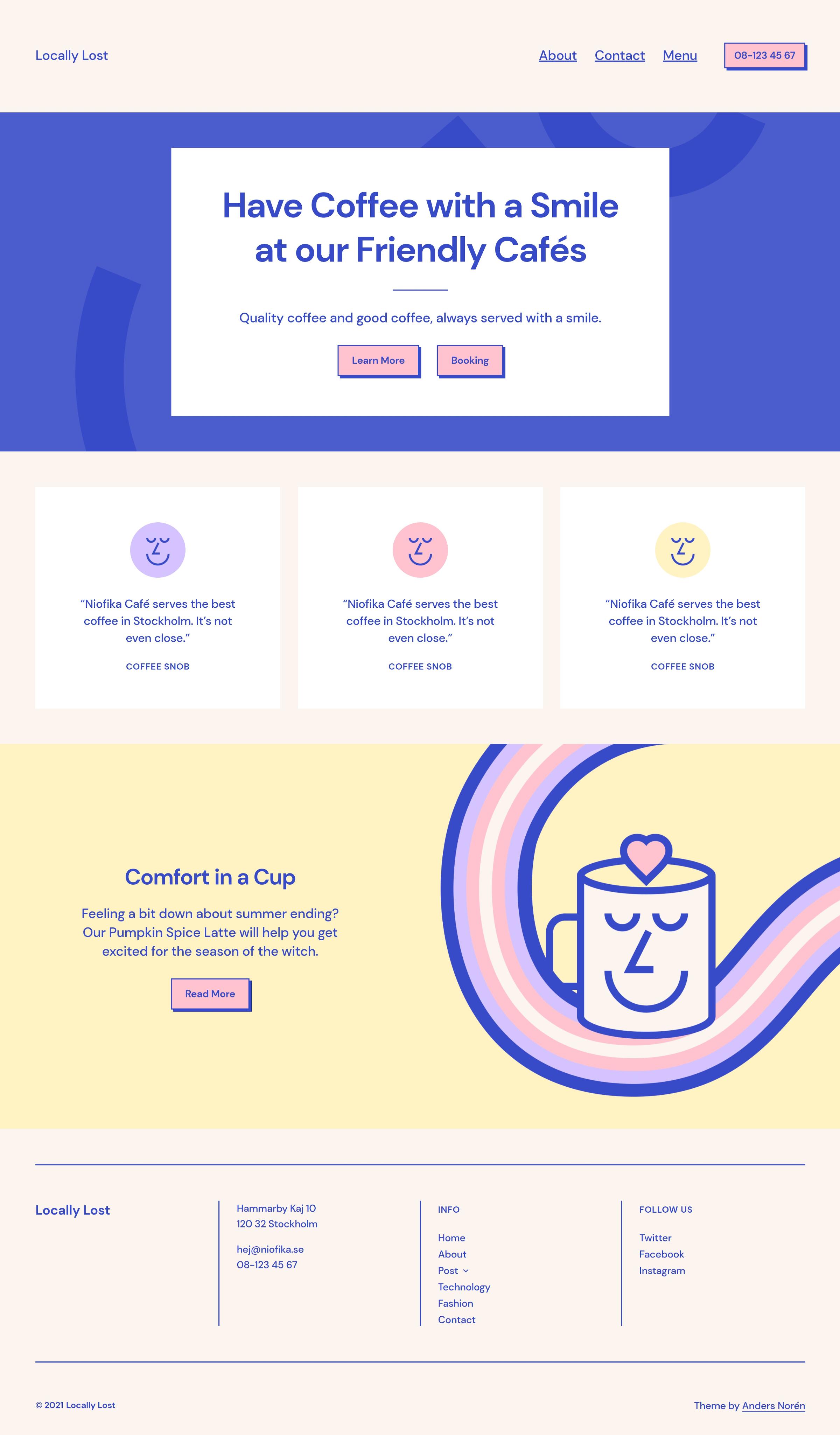 Page d'accueil personnalisée utilisant le thème WordPress Tove pour un café/restaurant avec diverses sections.