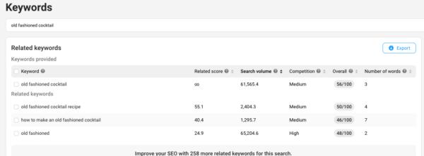 Recherche de mots clés YouTube: capture d'écran de l'outil de mots clés vidIQ