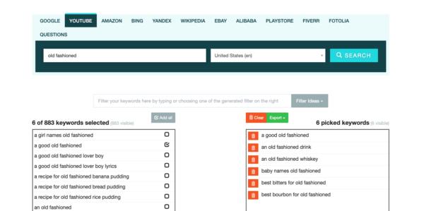 Capture d'écran du Générateur de mots clés Keyword.io