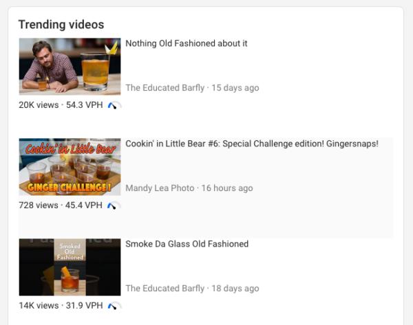 capture d'écran de vidéos tendance pour un mot-clé dans vidIQ