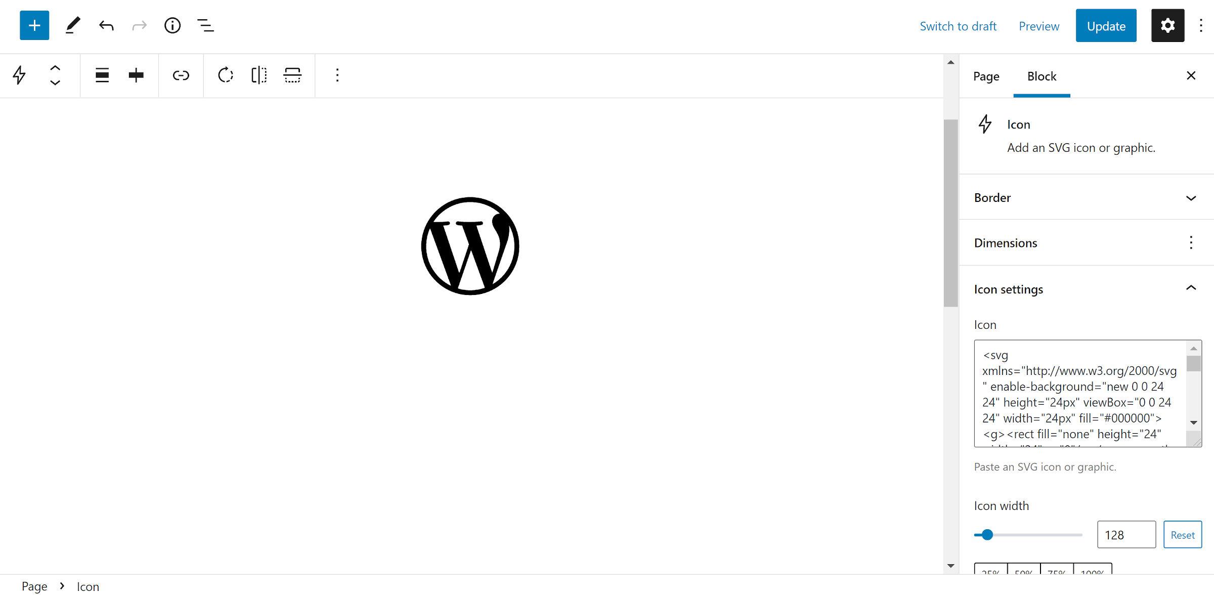 L'icône du logo WordPress en noir.