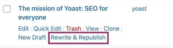 mettre à jour le contenu avec l'outil Yoast Rewrite & Republish