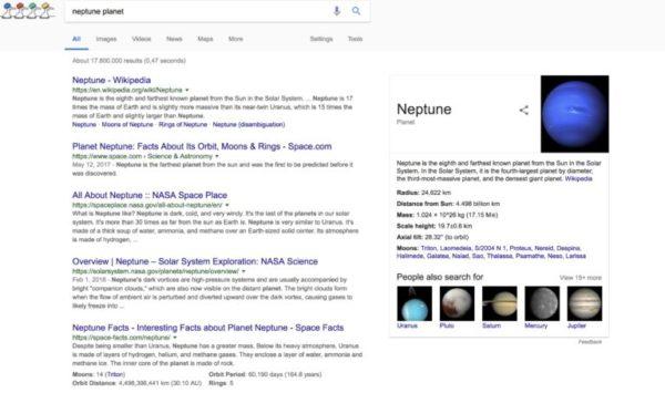 Les résultats de recherche de Google pour le terme planète neptune